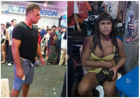 Ladyboy Attacks Irishman On Walking Street - LADYBOYS ARRESTED IN PATTAYA