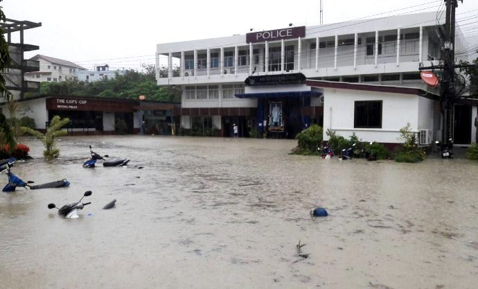 PATONG POLICE STATION PHUKET - Strong Tropical Storm Lashes Phuket