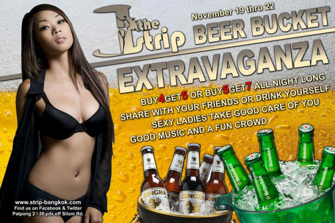 THE STRIP GOGO BAR PATPONG - BEER BUCKET SPECIAL AT THE STRIP
