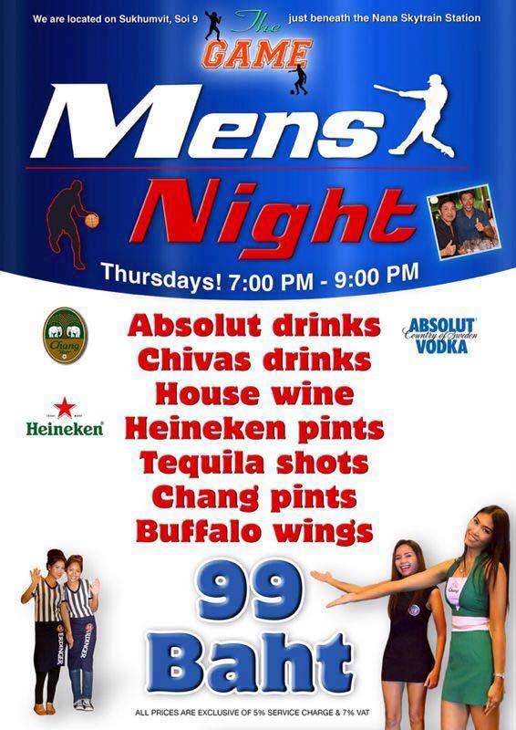 The Game Bangkok Mens Night - Mens Night At The Game Sports Bar Bangkok