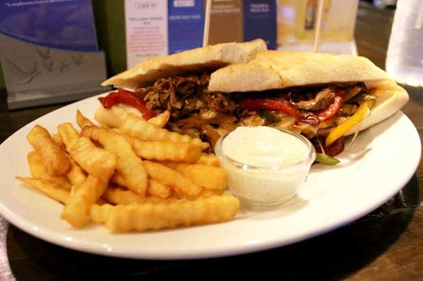 STEAK & CHEESE HOAGIE WITH FRIES & GARLIC DIP