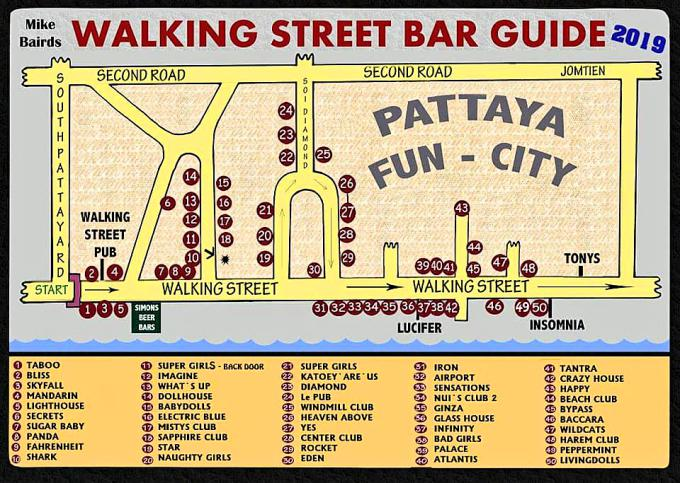 WALKING STREET PATTAYA MAP - Pattaya Bar Guide Maps 2019
