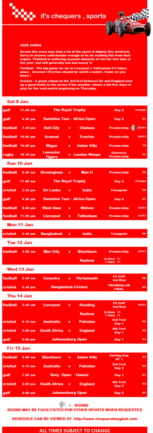CHEQUERS PUB SPORTS SCHEDULE 002