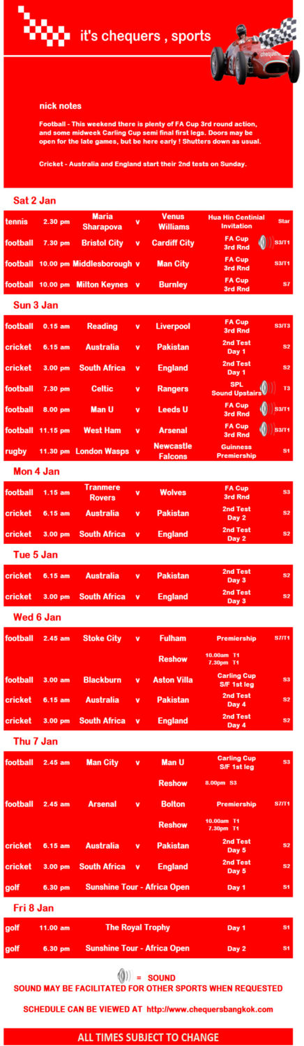 chequers sports 001 - Chequers Pub Sports Schedule