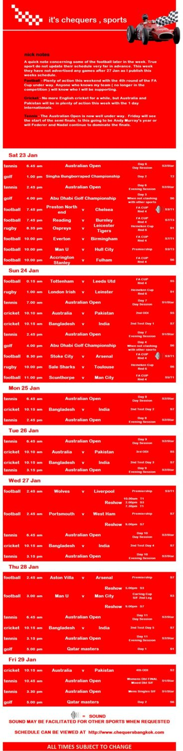 chequers sports schedule 04 - Getting Sporty At Chequers Pub