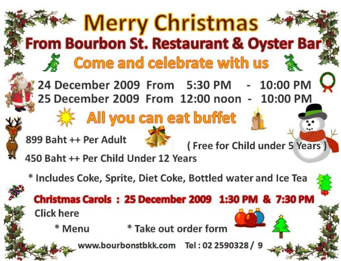 Bourbon Street Restaurant Christmas Menu