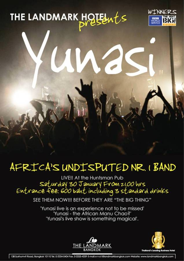 huntsman pub promo2 - 'Yunasi' Live At The Landmark Hotel