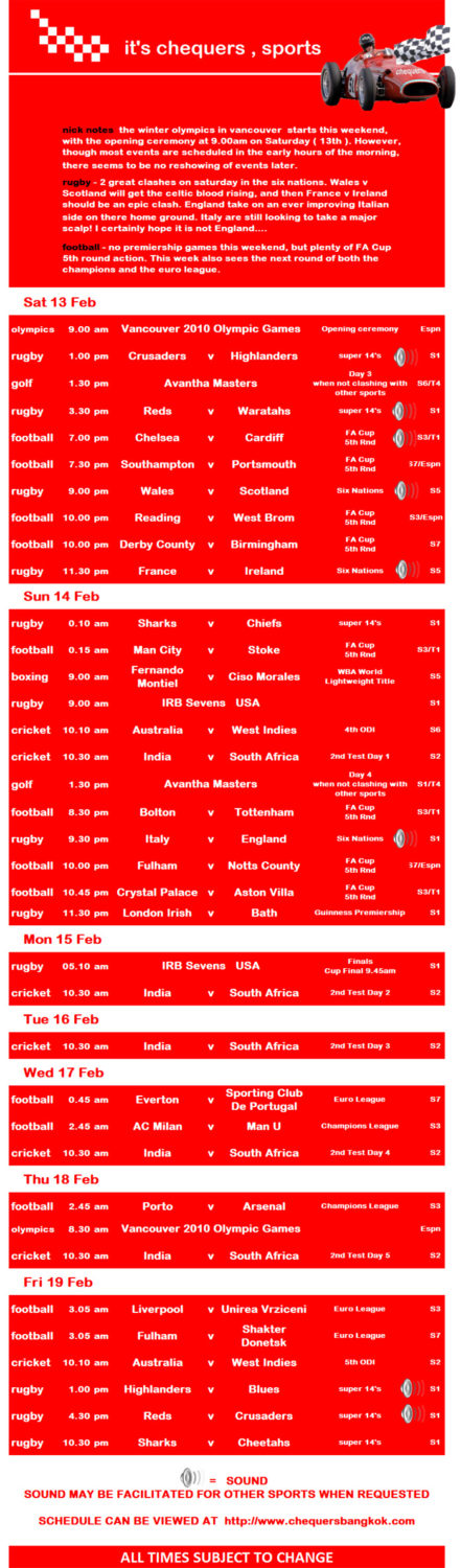 CHEQUERS PUB SPORTS SCHEDULE